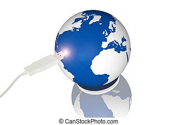 mondiale, connexion, usb