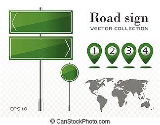 mondiale, conseil épingle, carte, panneau, vecteur, indicateur, icône, trafic, signs., isolé, route, vert, emplacement, texte, illustration, transparent.