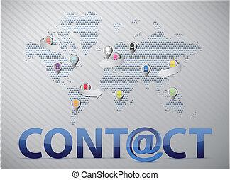 mondiale, contact, réseau, nous, social