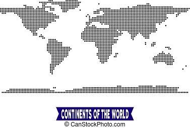 mondiale, continent, pointillé, carte
