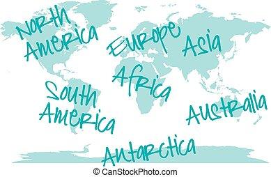 mondiale, continents, vecteur, carte