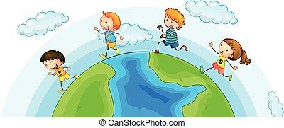 mondiale, courant, enfants, autour de