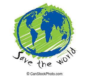 mondiale, croquis, concept, idée, sauver