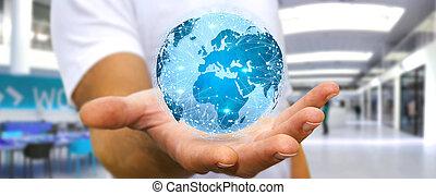 mondiale, différent, connecter, endroits, homme affaires