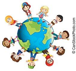 mondiale, différent, enfants, pays