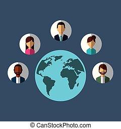 mondiale, différent, gens, autour de, communication