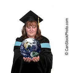 mondiale, diplômé, elle, mains