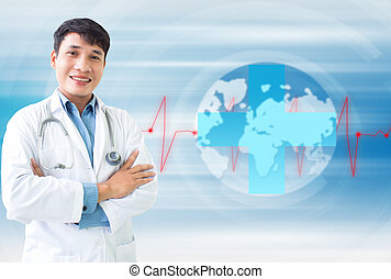 mondiale, docteur, autour de, serviced