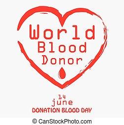 mondiale, donateur, sanguine, jour