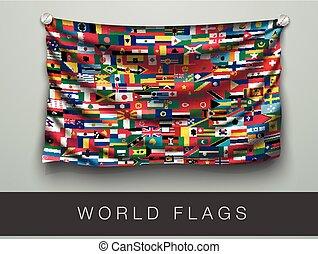 mondiale, drapeau, drapeaux, ombre, une