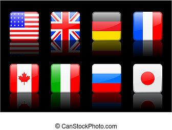 mondiale, drapeau, série, mondiale, drapeau, série, g8, pays