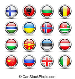 mondiale, drapeau, verre, icônes