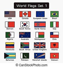mondiale, drapeaux, ensemble, 1, ., simple, style, et, plat, conception, ., épais, contour, .