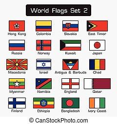 mondiale, drapeaux, ensemble, 2, ., simple, style, et, plat, conception, ., épais, contour, .