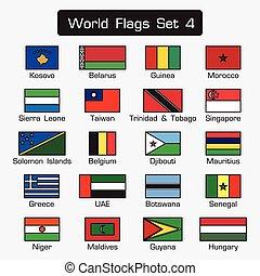 mondiale, drapeaux, ensemble, 4, ., simple, style, et, plat, conception, ., épais, contour, .
