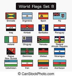 mondiale, drapeaux, ensemble, 8, ., simple, style, et, plat, conception, ., épais, contour, .