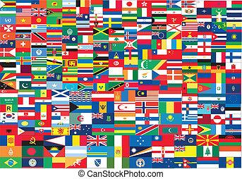 mondiale, drapeaux, ensemble