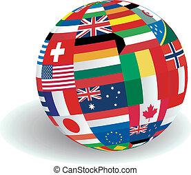 mondiale, drapeaux, illustration