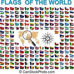mondiale, drapeaux, pays, souverain, ensemble, noms, signé, etats
