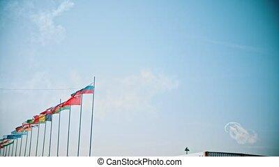 mondiale, drapeaux, souffler, pays, vent