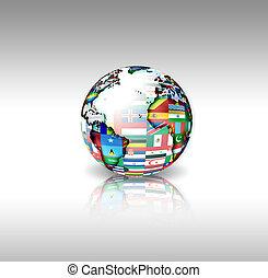 mondiale, drapeaux, sphère
