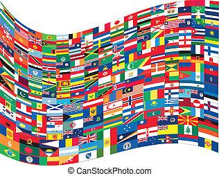 mondiale, drapeaux, vague