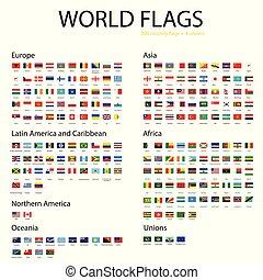 mondiale, drapeaux, vecteur