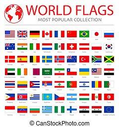 mondiale, drapeaux, vecteur, graphiques