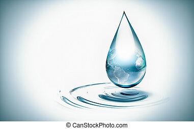 mondiale, eau, intérieur, goutte