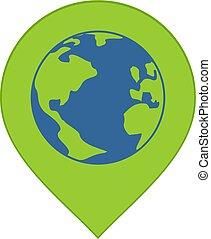 mondiale, emplacement, icône