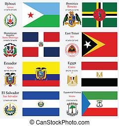 mondiale, ensemble, drapeaux, capitaux, 7