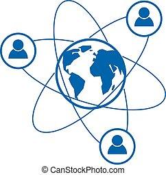 mondiale, et, personne, créatif, logo, unique, vecteur, symbole, créé, à, différent, icons., système, et, social, matrice, signe., personne, et, humanité, réagit réciproquement, à, chaque, autre., système, et, social, matrice, signe.
