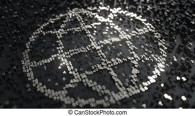 mondiale, fait, nombres, icône, argent