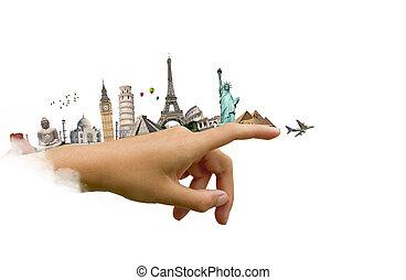 mondiale, femme, main, monuments