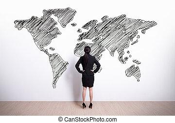 mondiale, femme, regard, business, carte