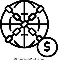 mondiale, financier, icône, vecteur, ligne, illustration, crise