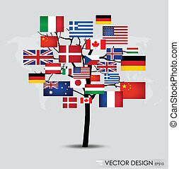 mondiale, flags., vecteur, illustration.