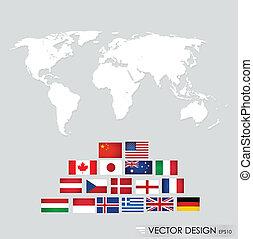 mondiale, flags., vecteur, illustration.
