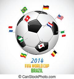 mondiale,  football, fond, tasse