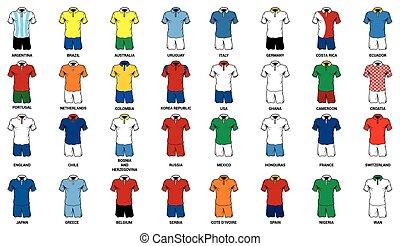 mondiale, football, jersey, équipe football