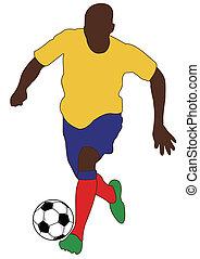 mondiale, football, silhouette, tasse, joueurs