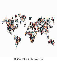mondiale, forme, gens, groupe, carte