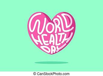 mondiale, foyer, vecteur, rose, jour, santé