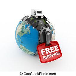 mondiale, -free, camion, expédition, 3d