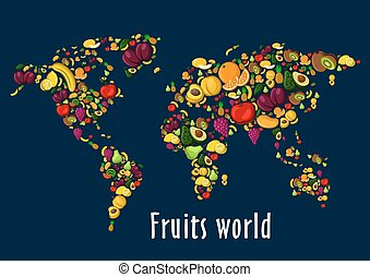 mondiale, fruits, affiche, fond, carte