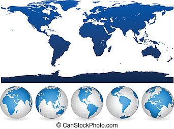mondiale, globes, contour