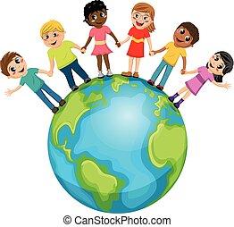 mondiale, gosses, enfants, isolé, main