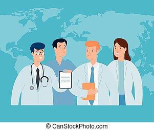 mondiale, groupe, carte, docteur