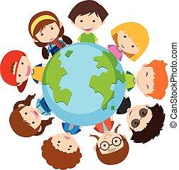 mondiale, heureux, enfants, autour de