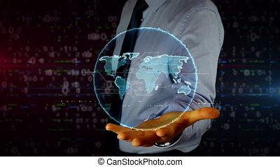 mondiale, homme affaires, hologramme, main